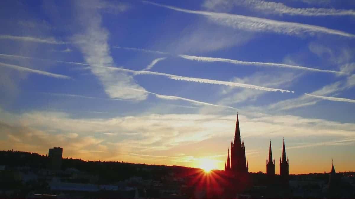 Sonnenaufgang über Marktkirche Wiesbaden